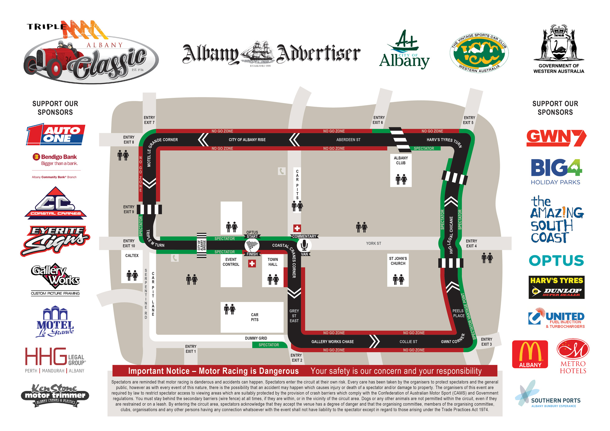 Albany Classic Race Track Circuit Map